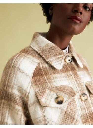 Marks & Spencer Yün Karışımlı Ekose Ceket Mor